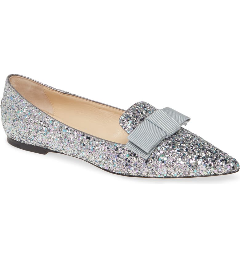 JIMMY CHOO Gala Glitter Bow Flat, Main, color, SKY MIX