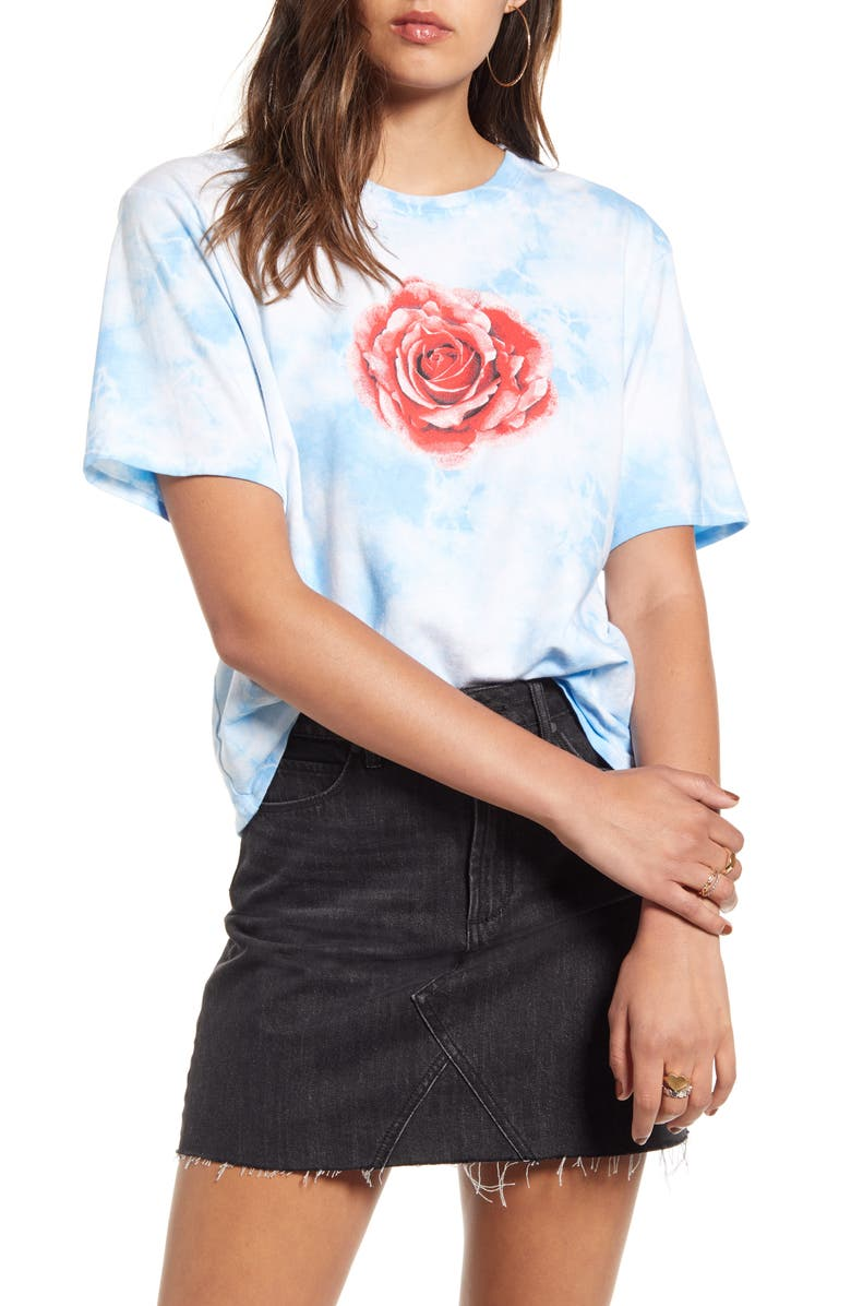 BP. x Claudia Sulewski Relaxed Graphic Tee, Main, color, BLUE TIE DYE ROSE TEE
