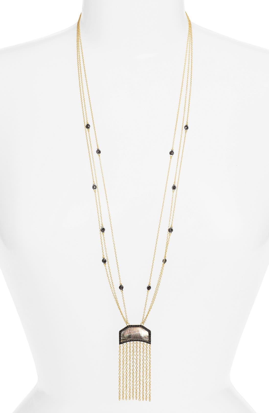 Image of Freida Rothman Two-Tone Flat Fringe CZ & Mother of Pearl Pendant Necklace