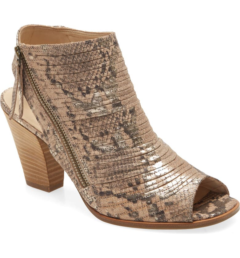 PAUL GREEN 'Cayanne' Leather Peep Toe Sandal, Main, color, PLATINO/ SISAL SNAKE PRINT