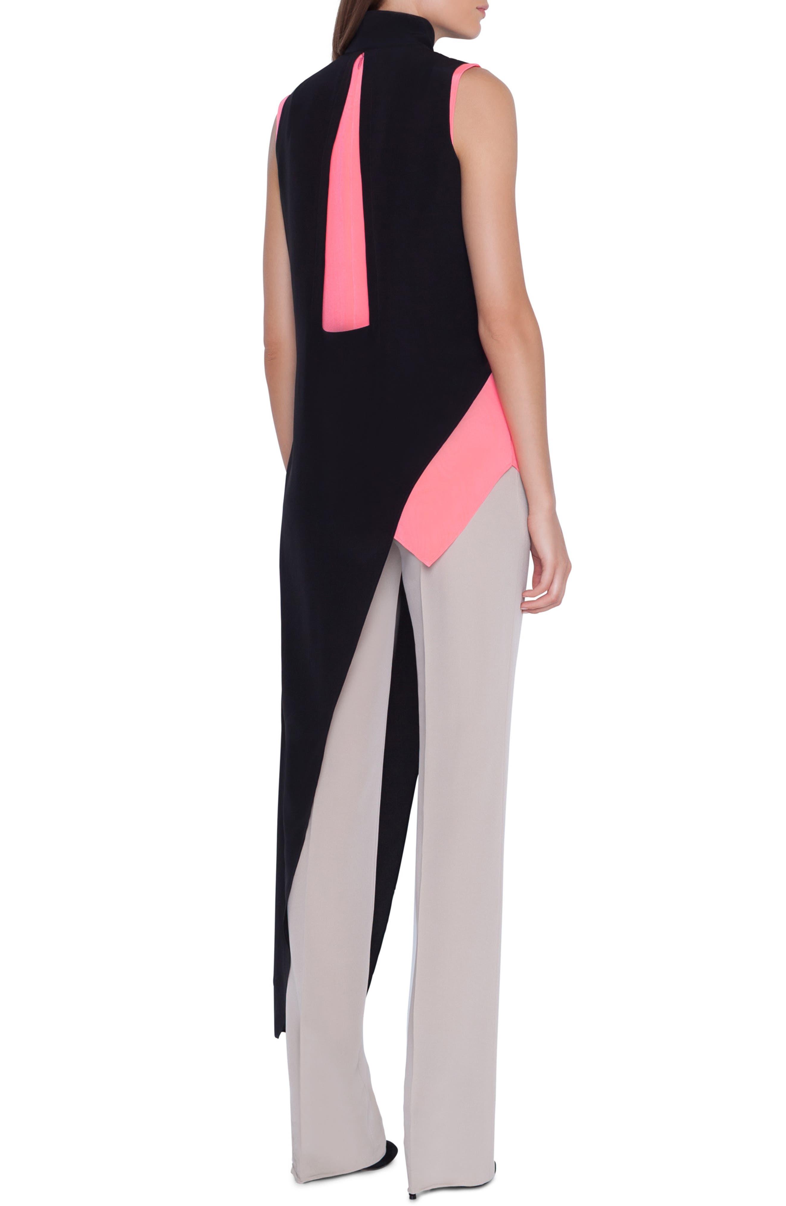 ,                             Asymmetrical Silk Crepe Tunic,                             Alternate thumbnail 3, color,                             BLACK