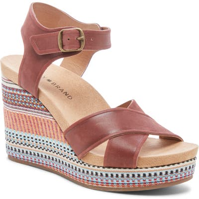 Lucky Brand Yarosan Platform Wedge Sandal- Red
