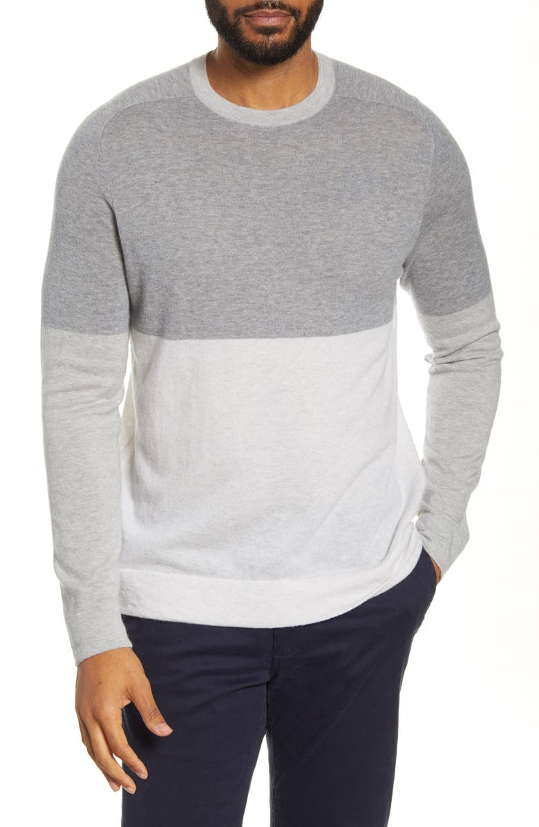 NORDSTROM SIGNATURE Colorblock Cashmere Crewneck Sweater, Main, color, GREY ALLOY HEATHER