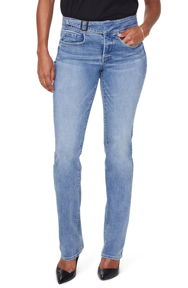 NYDJ Marilyn Buckle Waist Straight Leg Jeans, Main, color, COHEED