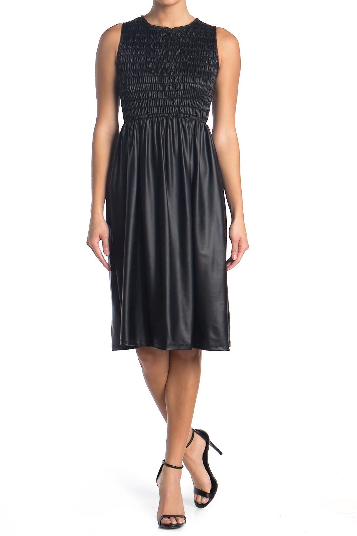 Image of Velvet Torch Smocked Faux Leather Midi Dress