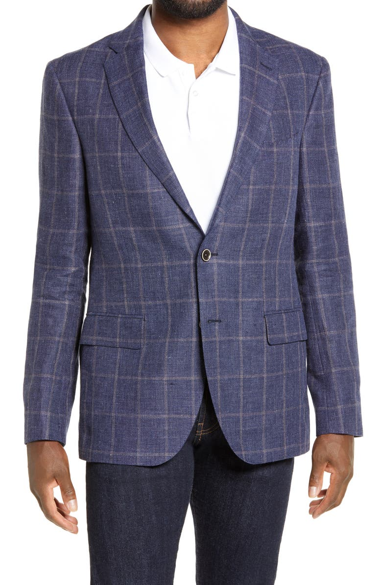 RODD & GUNN Hopkins Valley Regular Fit Windowpane Check Linen Sport Coat, Main, color, INK