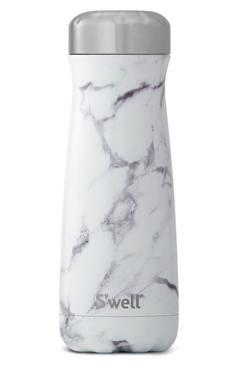 S'WELL Traveler White Marble 20-Ounce Insulated Stainless Steel Water Bottle, Main, color, 021