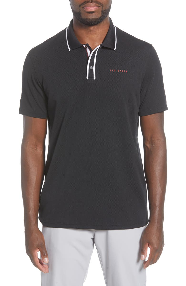 TED BAKER LONDON Slim Fit Technical Golf Polo, Main, color, BLACK