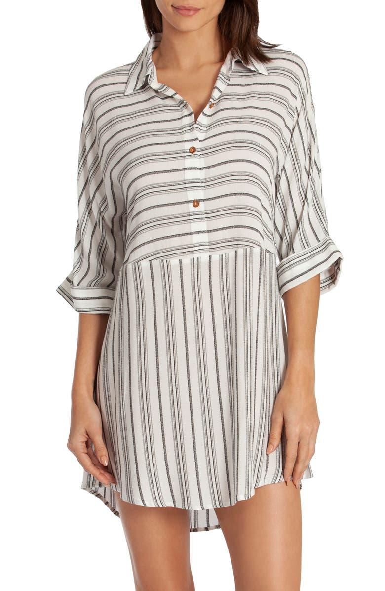 MIDNIGHT BAKERY Jade Stripe Sleepshirt, Main, color, WHITE/ BLACK