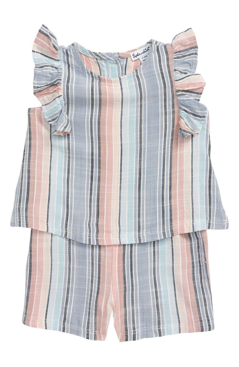 SPLENDID Woven Stripe Romper, Main, color, BLUE