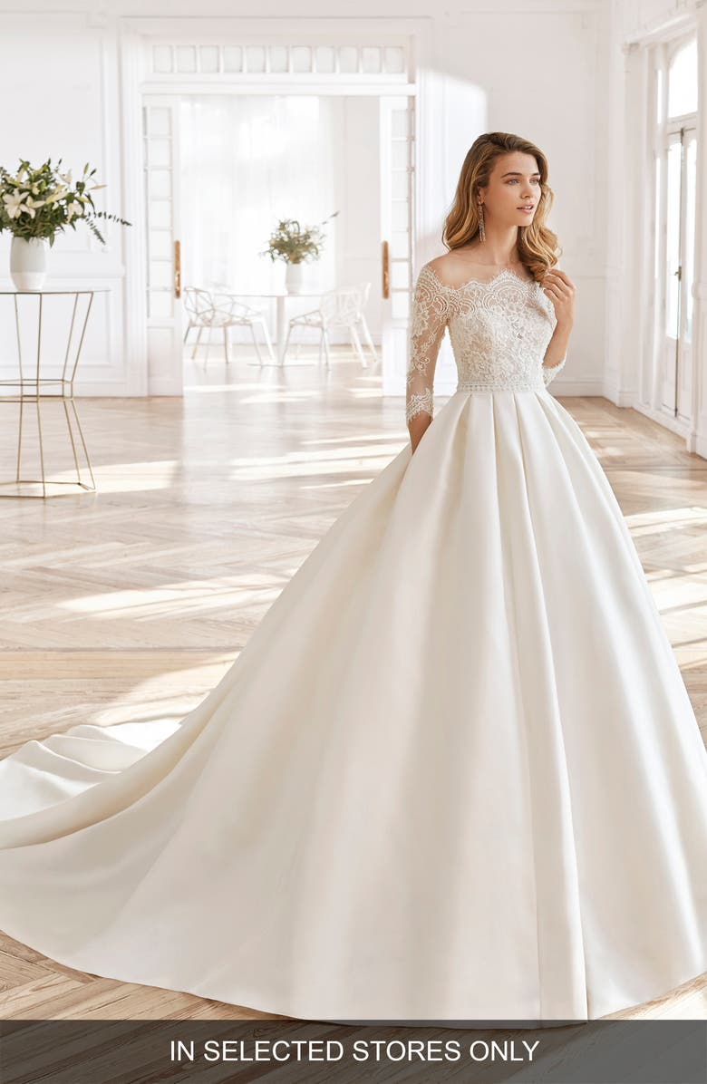 AIRE BARCELONA North Lace Sleeve Ballgown Wedding Dress, Main, color, NATURAL