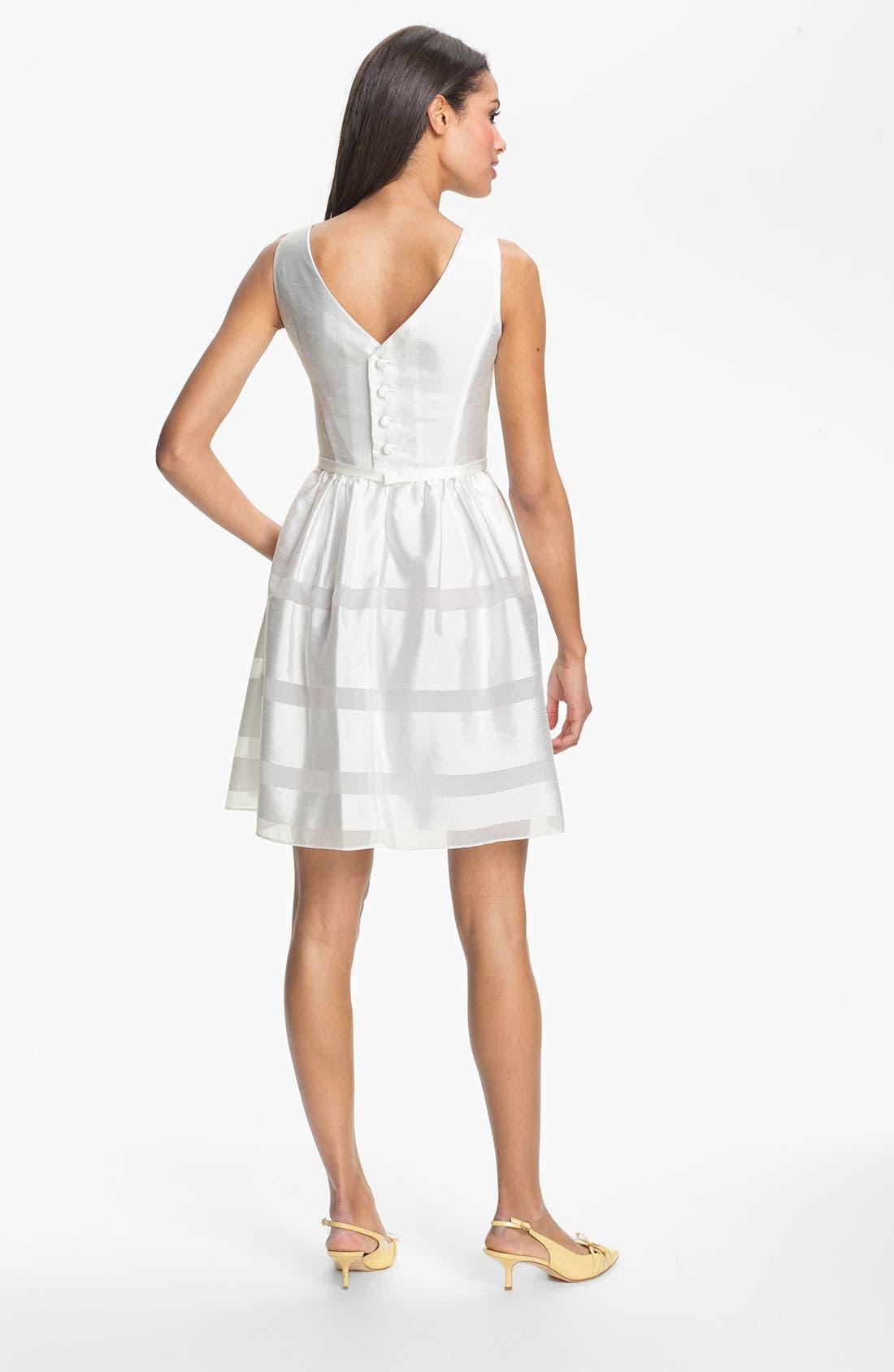 ,                             Tonal Stripe Fit & Flare Dress,                             Alternate thumbnail 5, color,                             100