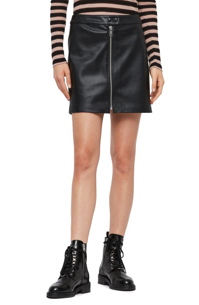 ALLSAINTS Lena Faux Leather Miniskirt, Main, color, BLACK