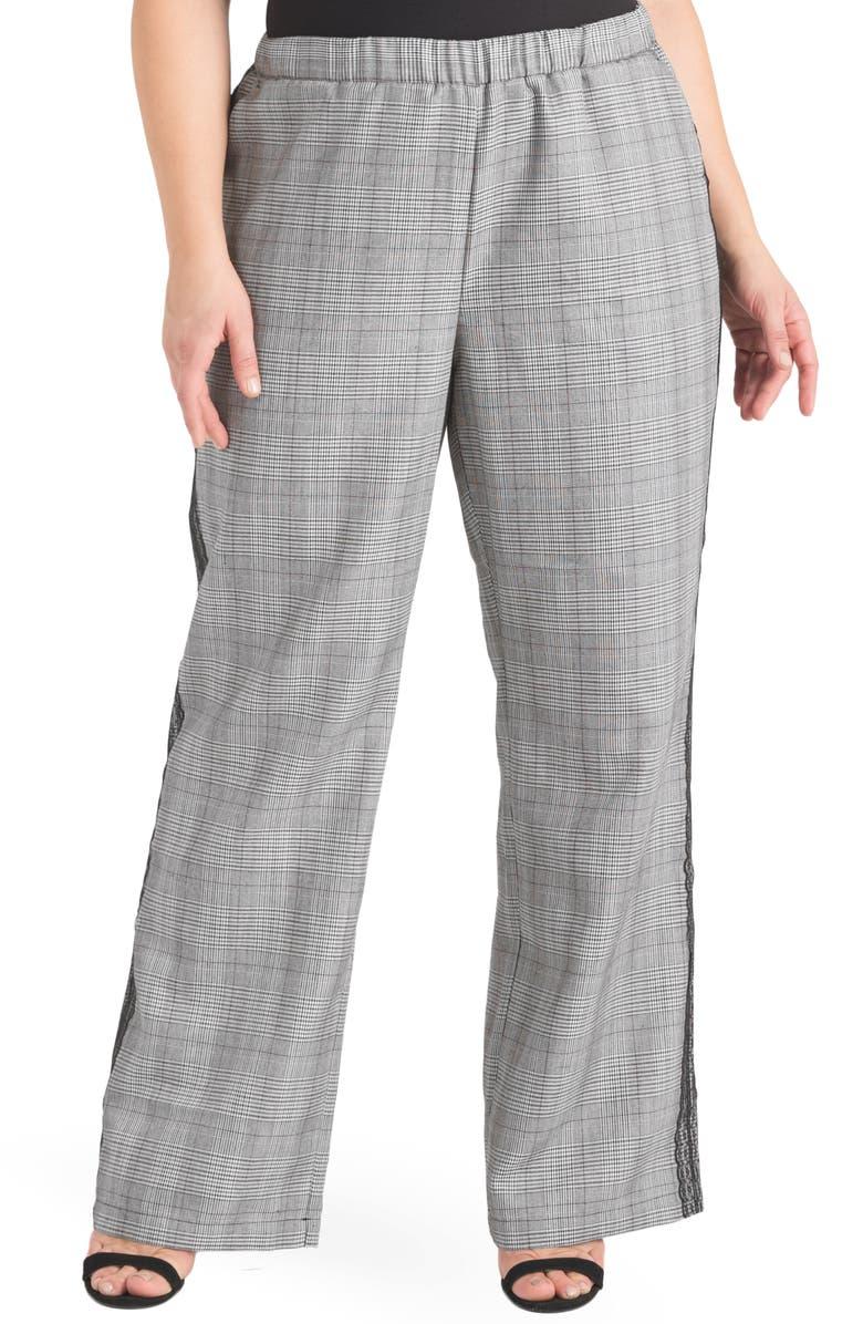 STANDARDS & PRACTICES Rowam Lace Trim Pants, Main, color, BLACK