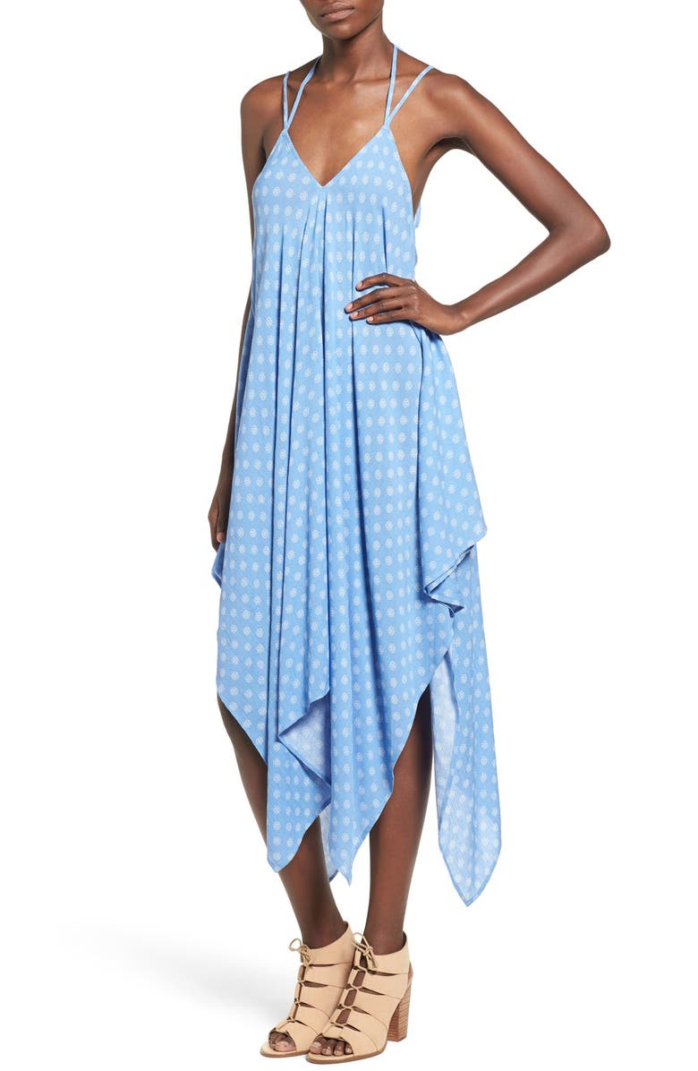 ROXBERI ELLE Print Handkerchief Hem Midi Dress, Main, color, 478