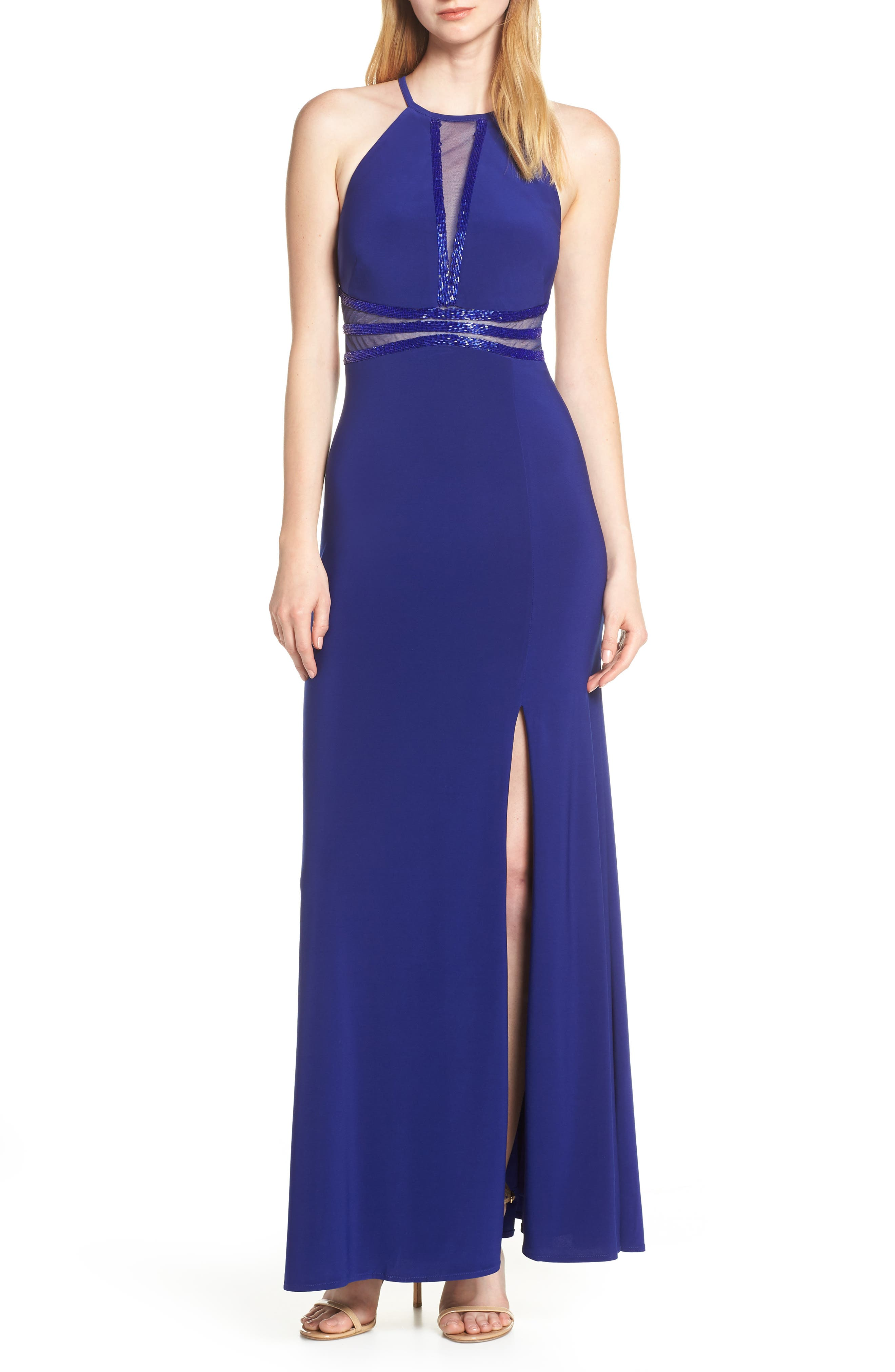 Morgan & Co. Mesh Inset Evening Dress, Blue