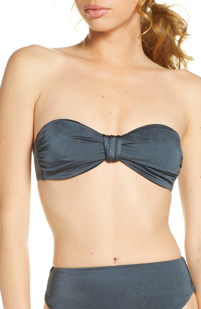 CHELSEA28 Twisted Bandeau Bikini Top, Main, color, GREY SHADOW METALLIC