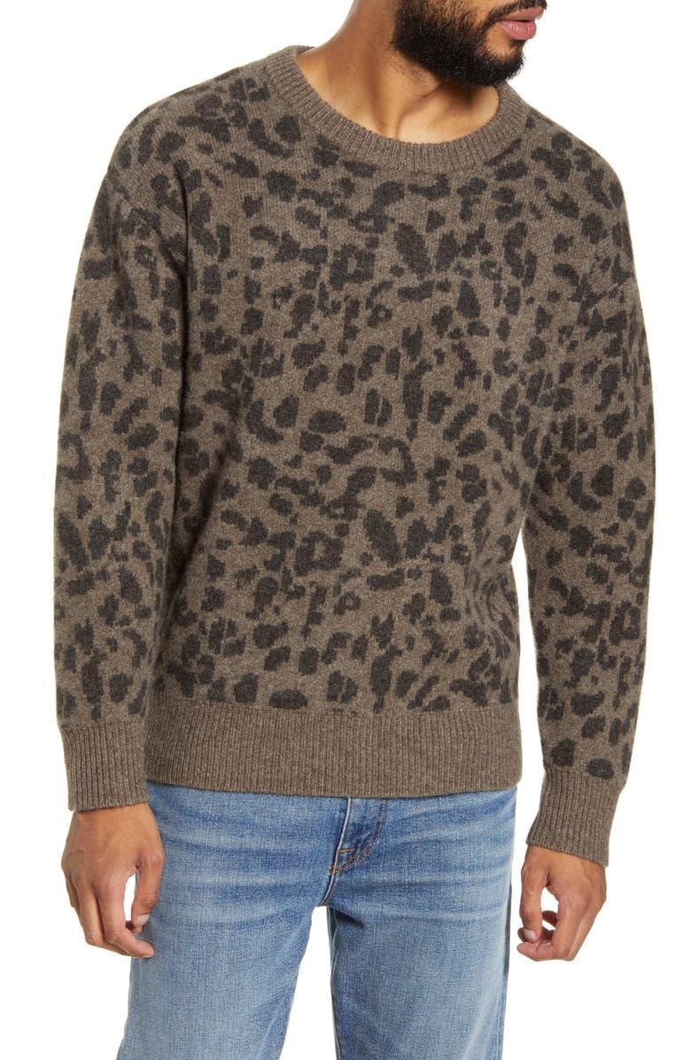 BLDWN Nevill Leopard Crewneck Yak & Wool Sweater, Main, color, 020