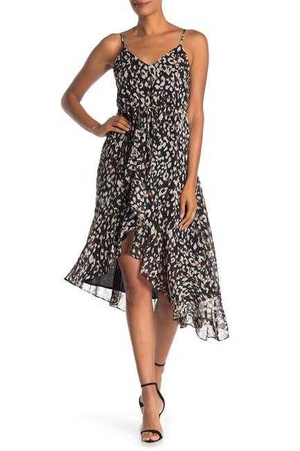 Image of 19 Cooper Leopard Print Asymmetrical Midi Dress