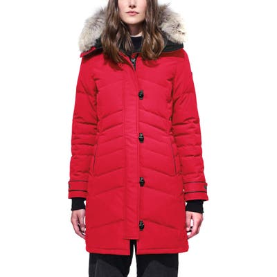 Canada Goose Lorette Hooded Down Parka With Genuine Coyote Fur Trim, Red
