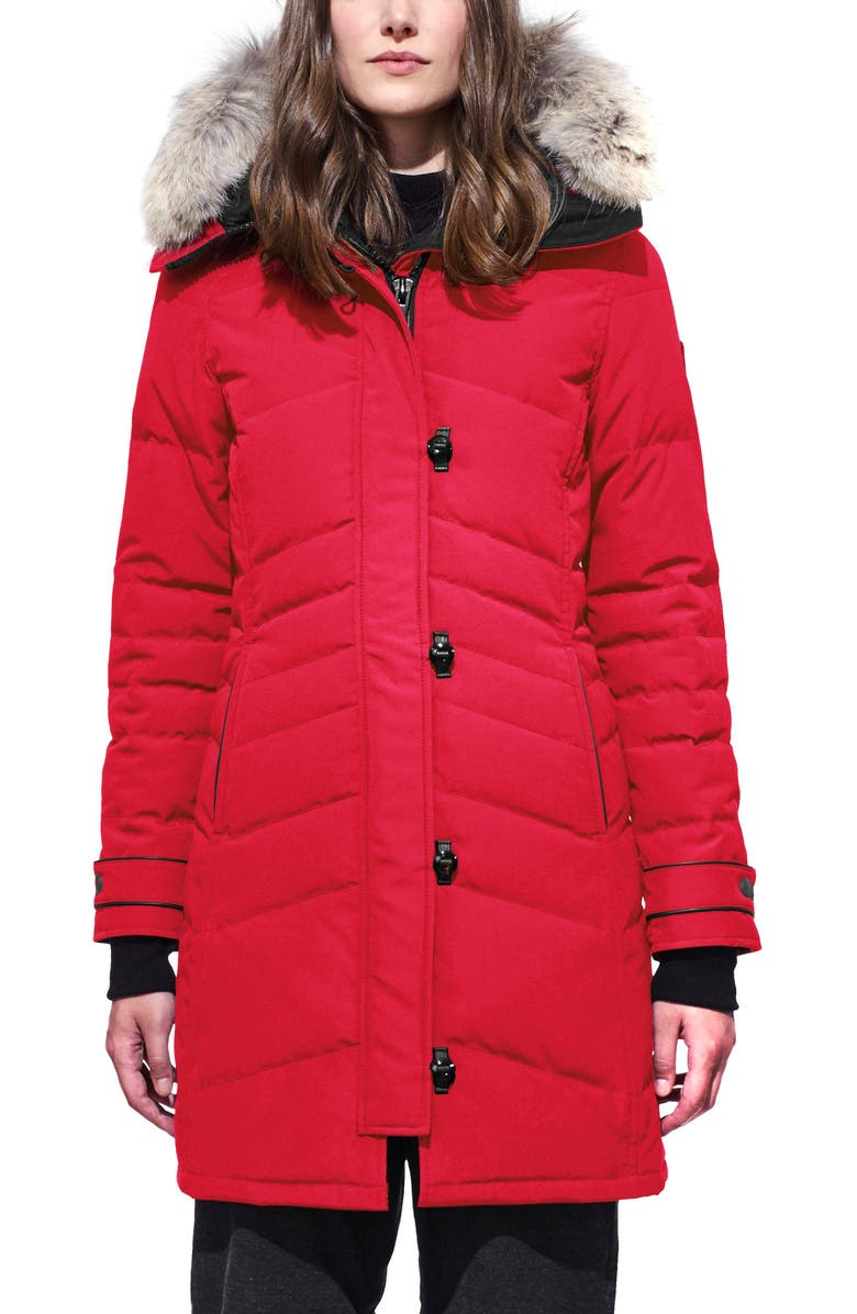 CANADA GOOSE Lorette Hooded Down Parka with Genuine Coyote Fur Trim, Main, color, RED