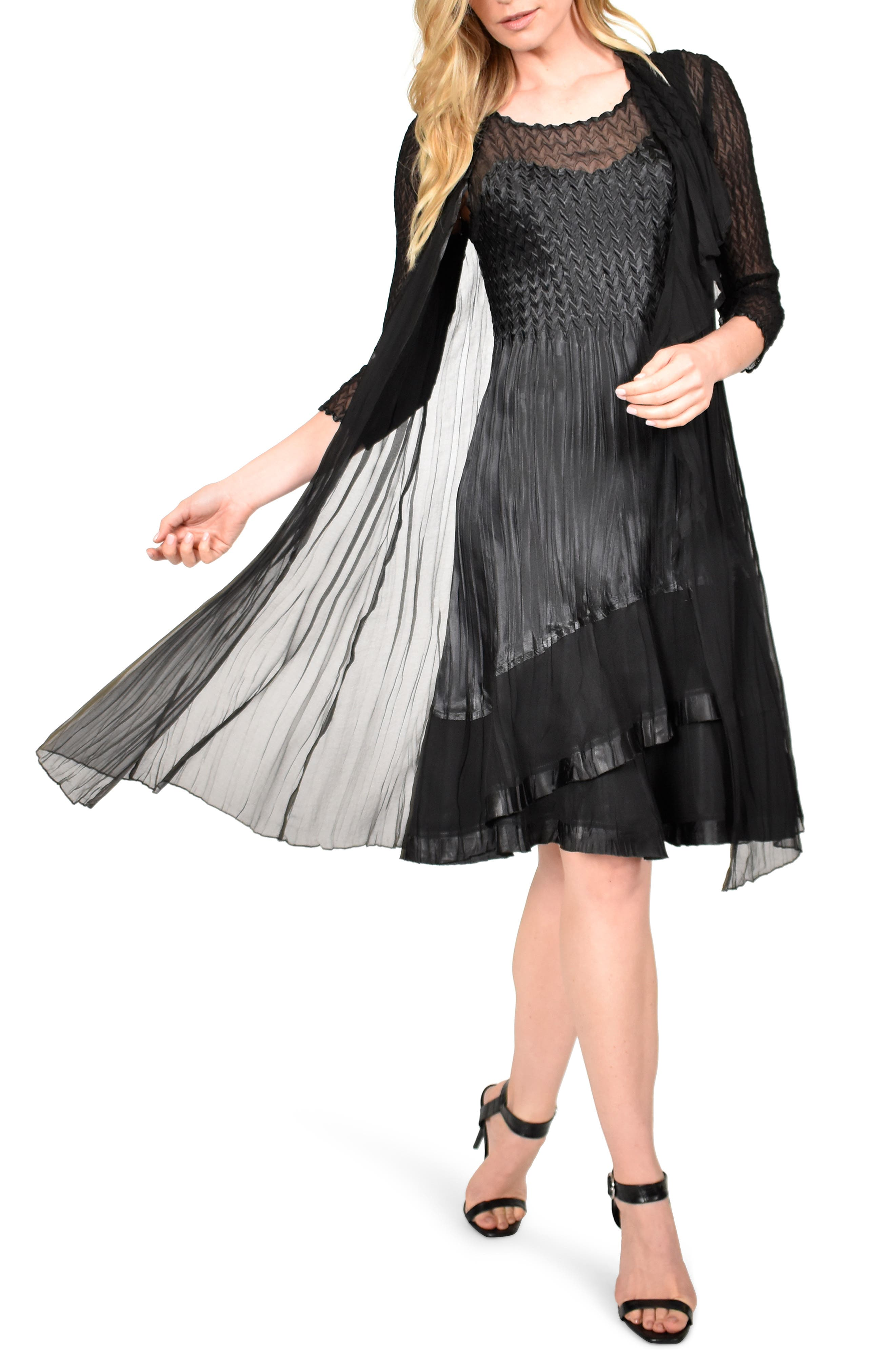 Vintage 1920s Dresses – Where to Buy Womens Komarov Charmeuse Dress With Long Jacket $448.00 AT vintagedancer.com