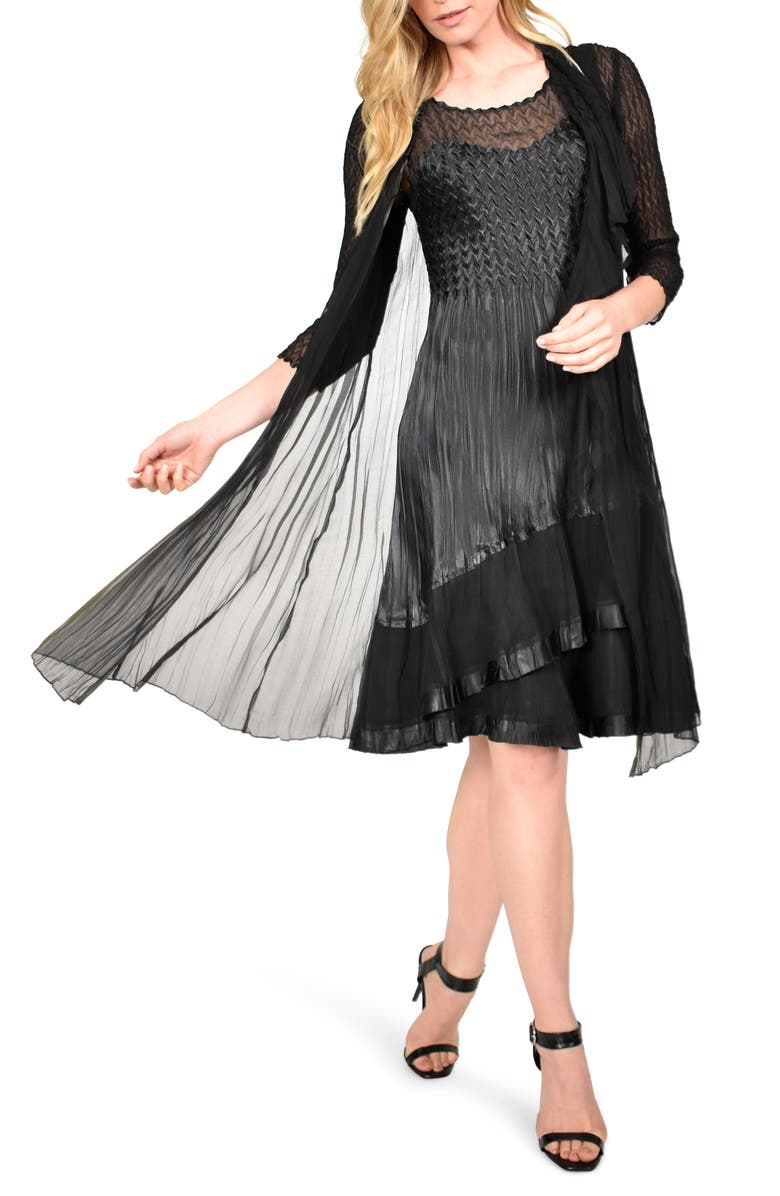 KOMAROV Charmeuse Dress with Long Jacket, Main, color, BLACK