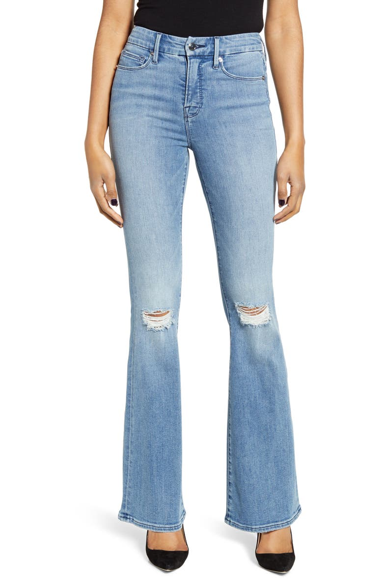 GOOD AMERICAN Good Flare Ripped Jeans, Main, color, BLUE501