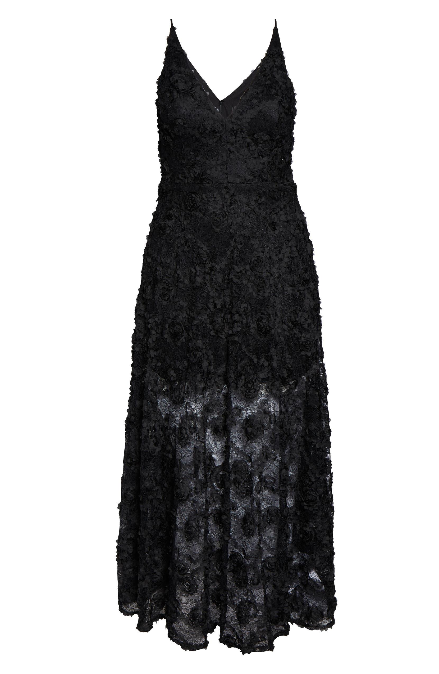 3D Lace V-Neck Evening Dress