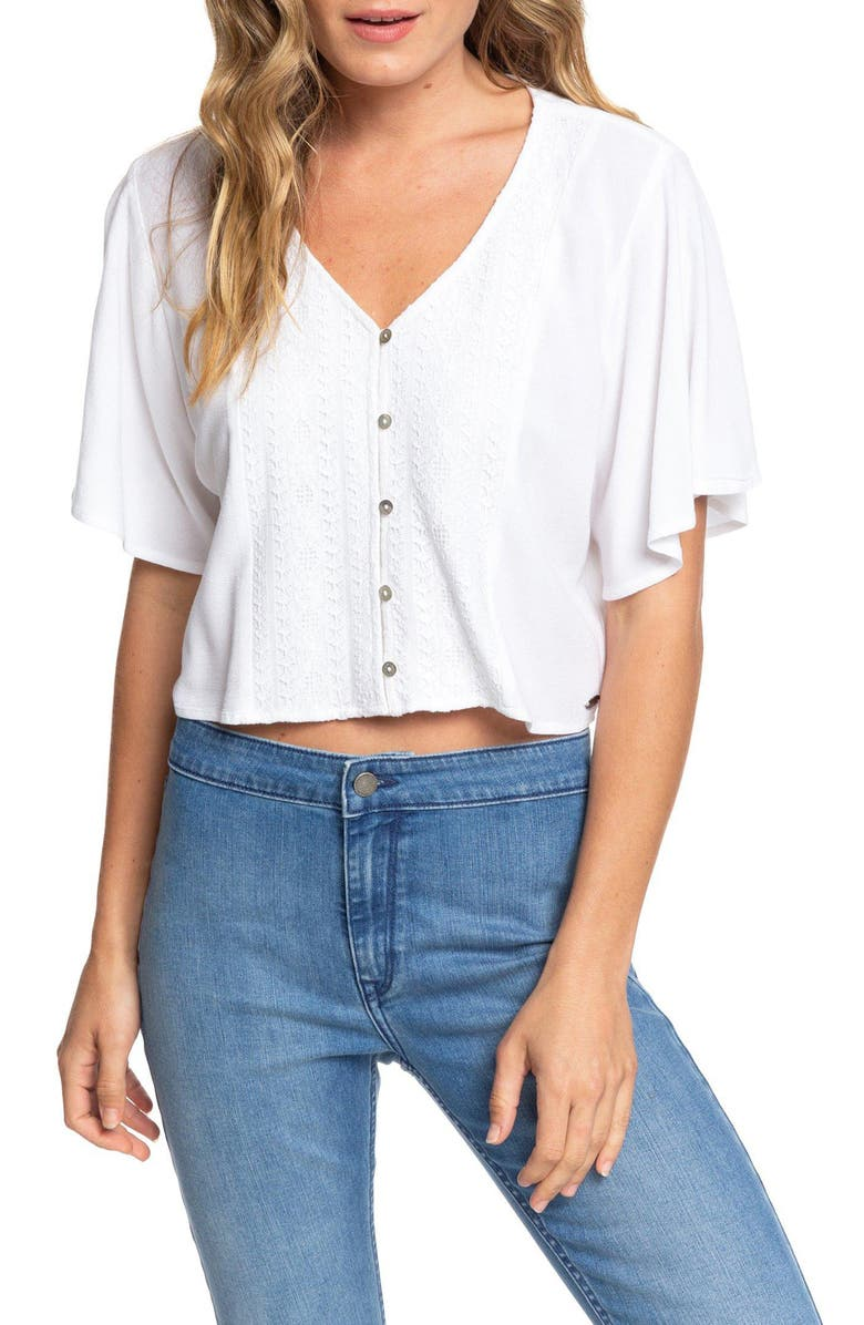 ROXY Hanging Moon Lace Crop Top, Main, color, 101