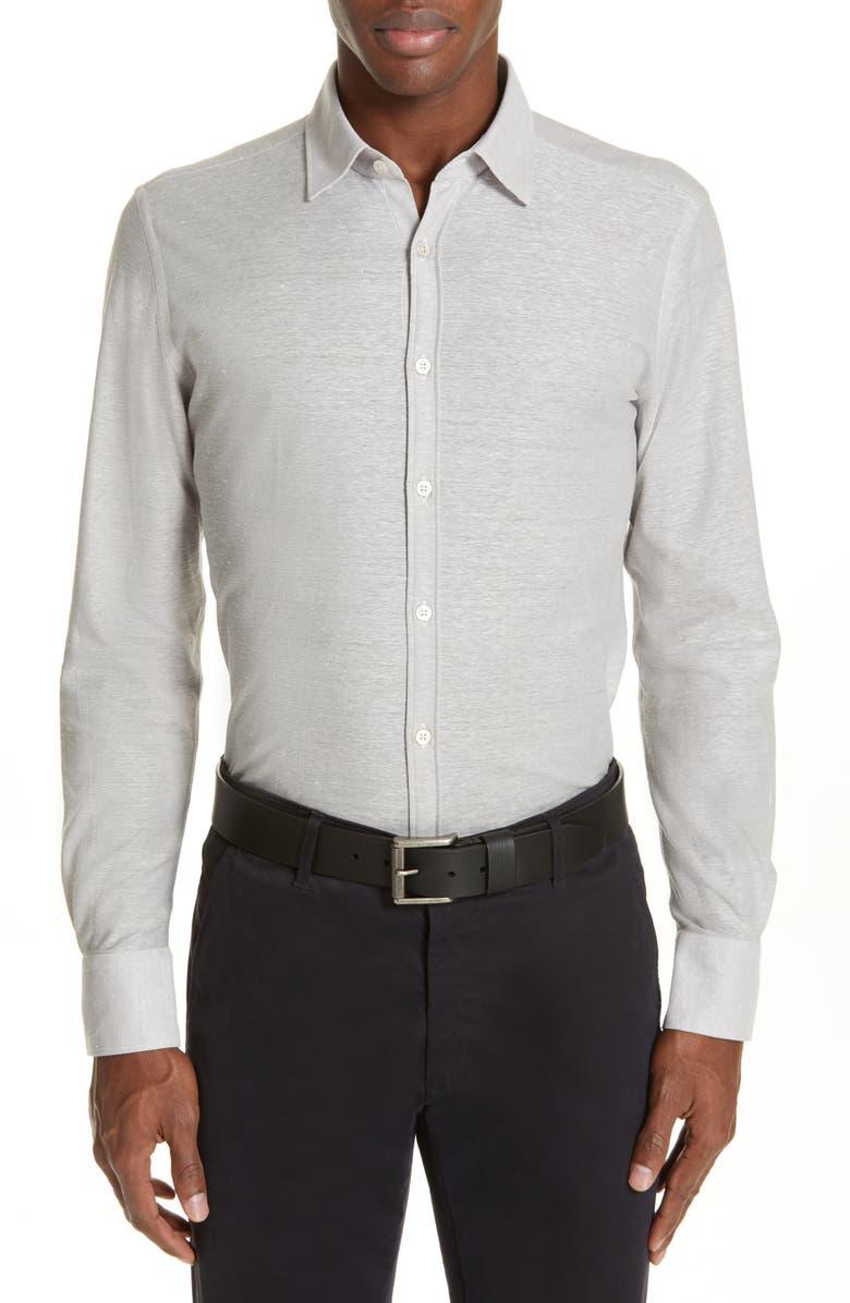 CANALI Solid Slim Fit Cotton & Linen Shirt, Main, color, SILVER