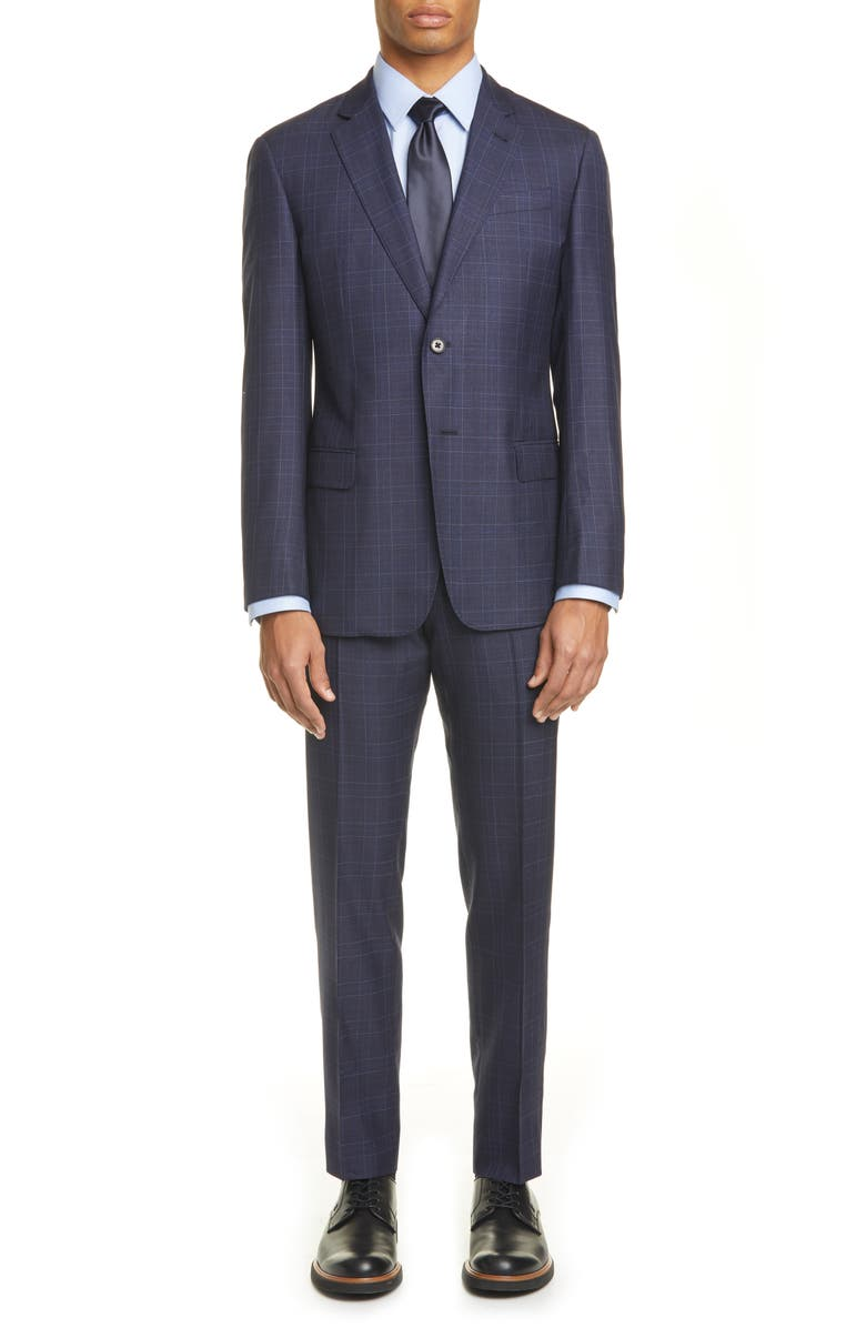 EMPORIO ARMANI G Line Trim Fit Plaid Wool Blend Suit, Main, color, NAVY
