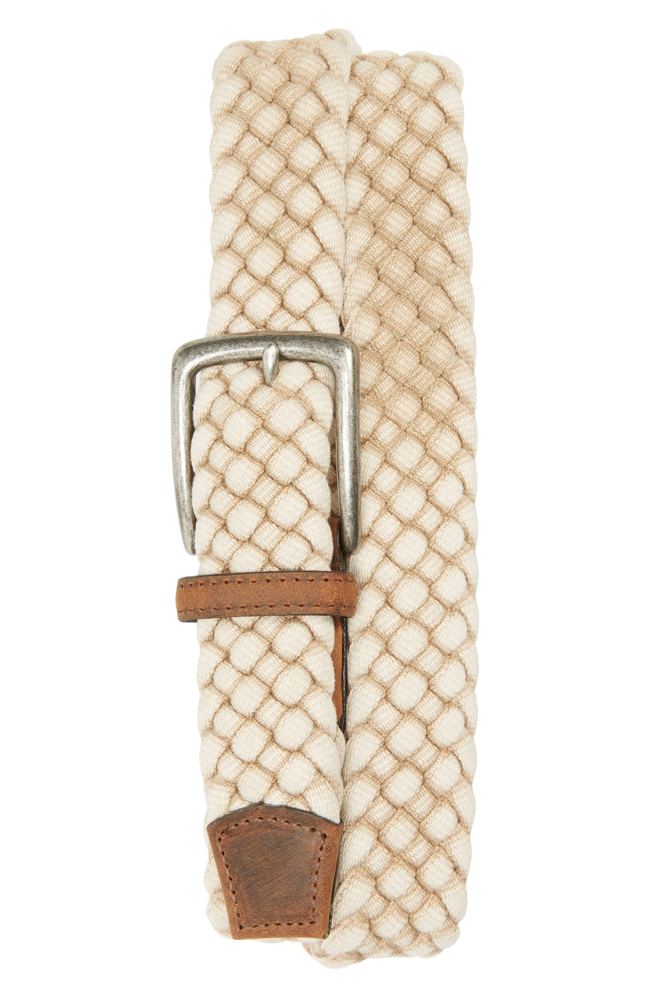 Woven Italian cotton and rich calfskin trim define a stylish, American-made belt with easy charm. Style Name: Torino Woven Cotton Belt. Style Number: 5834337. Available in stores.