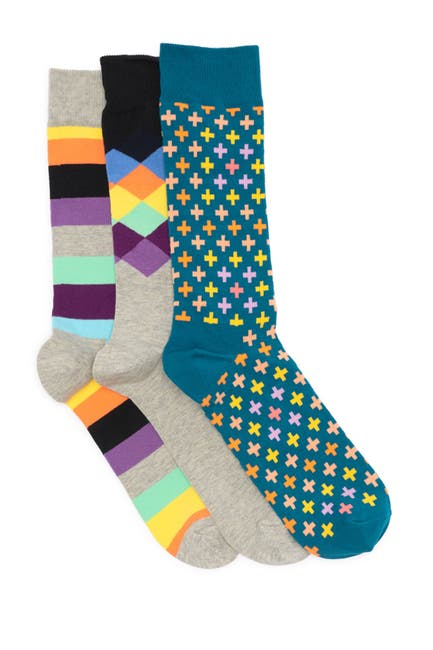 Image of Happy Socks Printed Crew Socks - Pack of 3