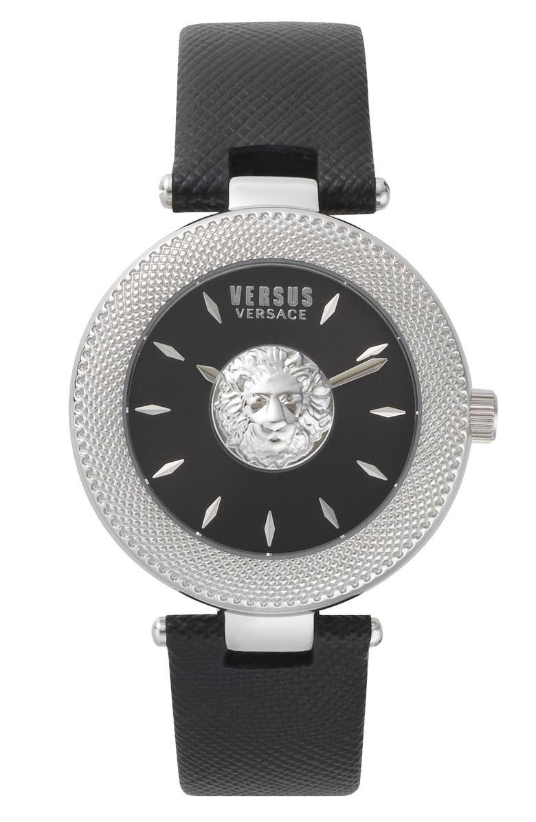VERSUS VERSACE Brick Lane Leather Strap Watch, 40mm, Main, color, 001