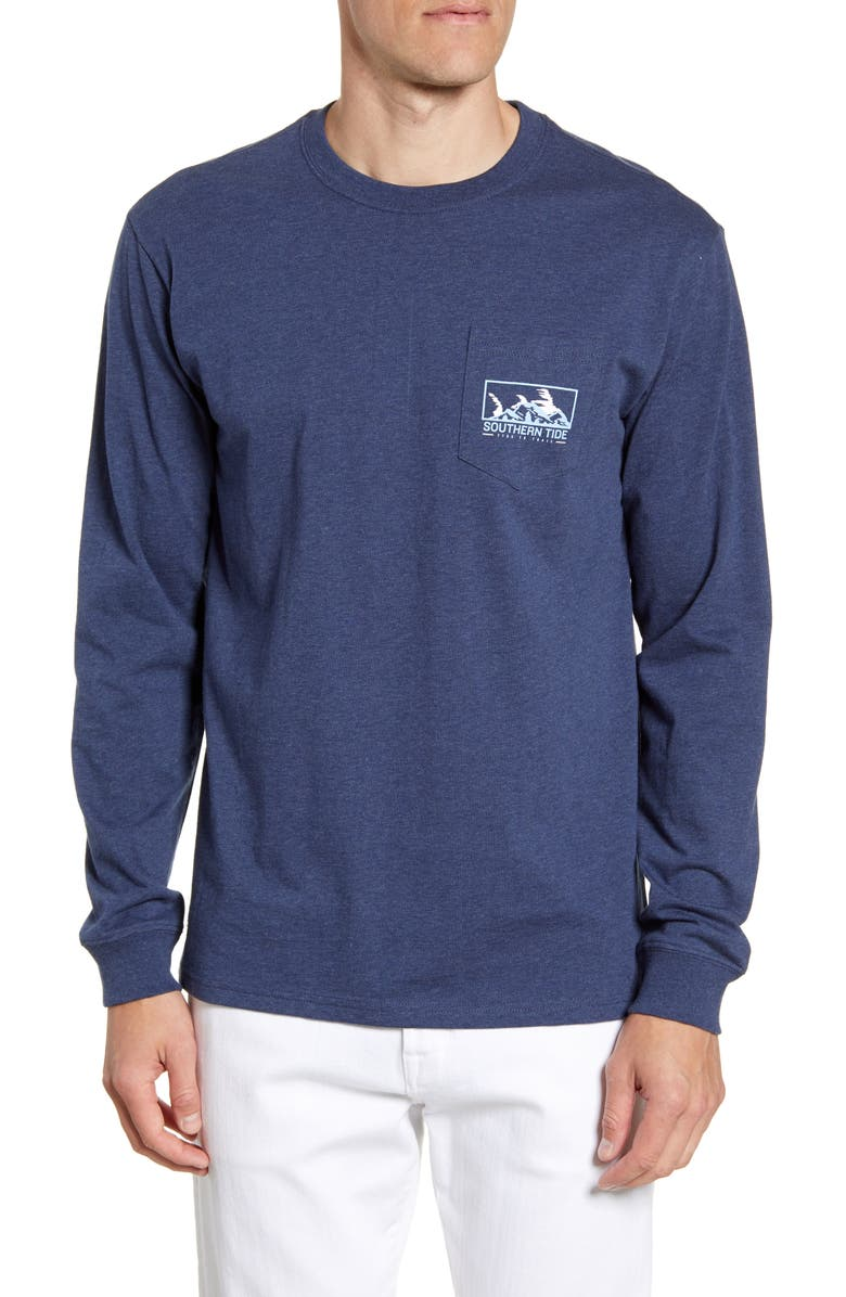 SOUTHERN TIDE Skipjack Scene Classic Fit Graphic Long Sleeve T-Shirt, Main, color, HEATHER TRUE NAVY