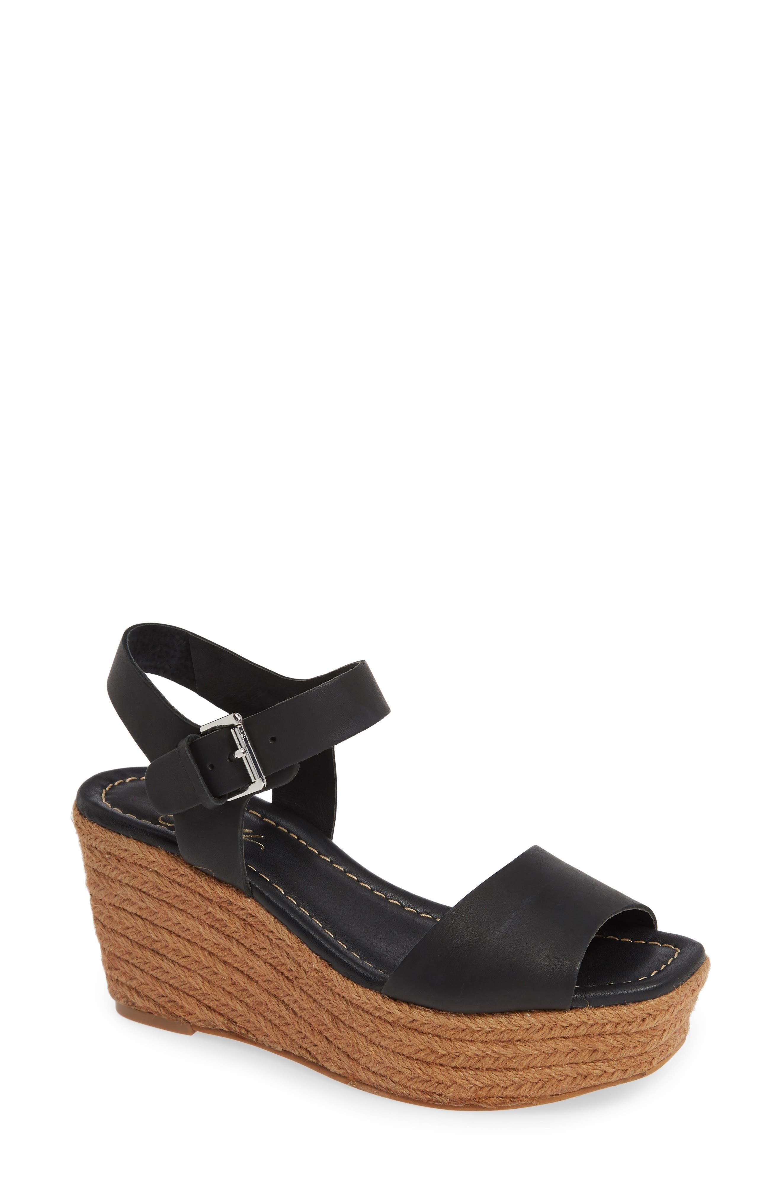 Maine Platform Wedge Sandal, Main, color, BLACK LEATHER