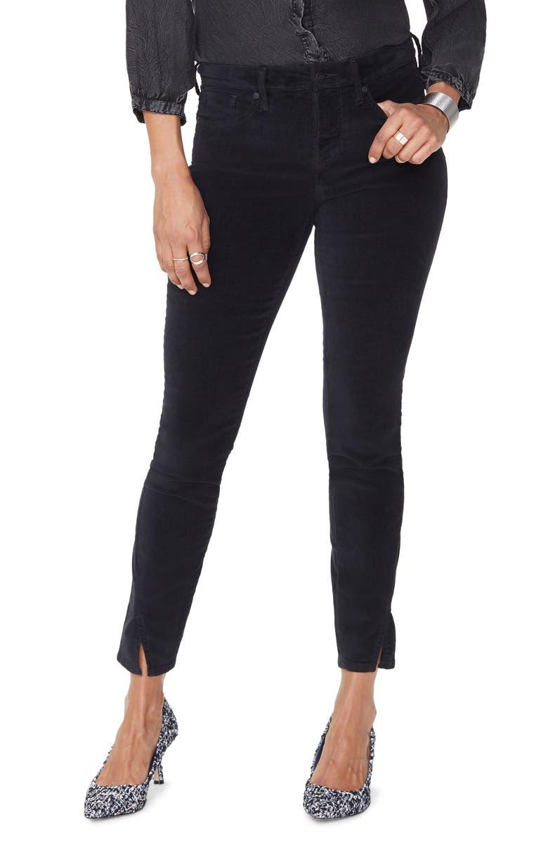 NYDJ Ami Twisted Seam Split Ankle Skinny Jeans, Main, color, BLACK