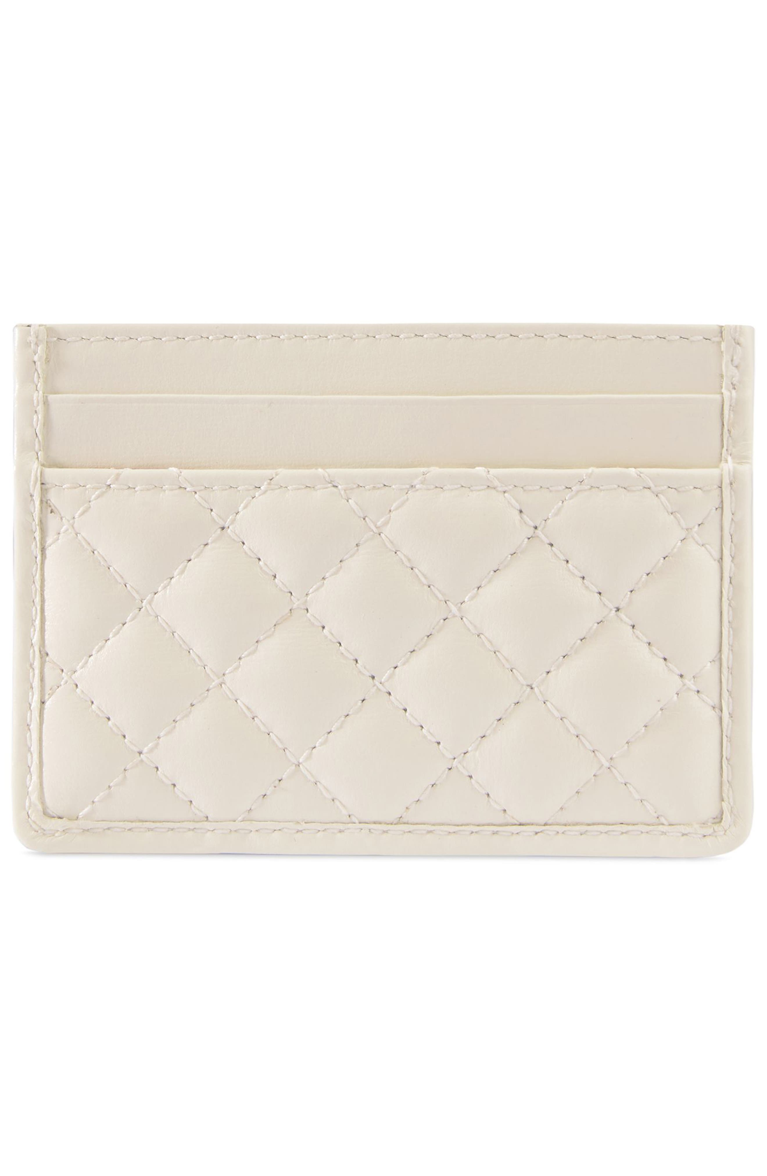 ,                             Quilted Leather Card Case,                             Alternate thumbnail 3, color,                             OFF WHITE/ VERT/ RED