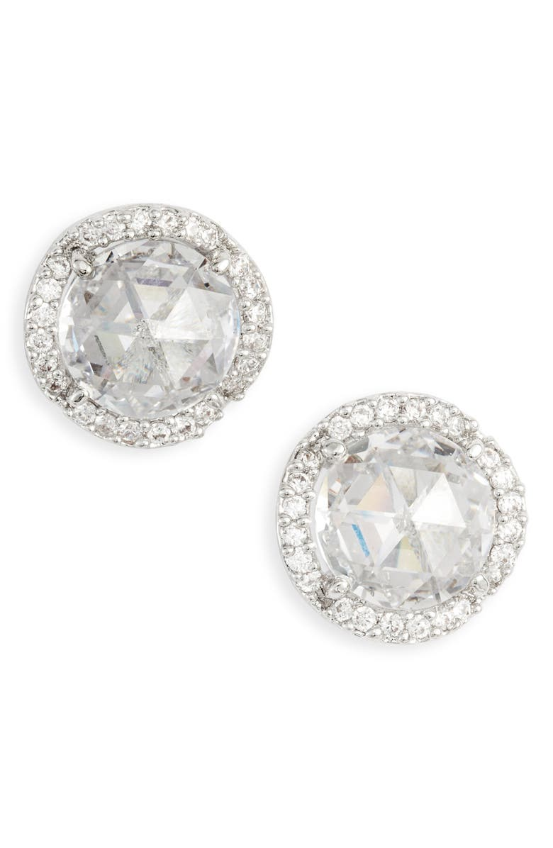 KATE SPADE NEW YORK that sparkle large pavé stud earrings, Main, color, CLEAR/ SILVER