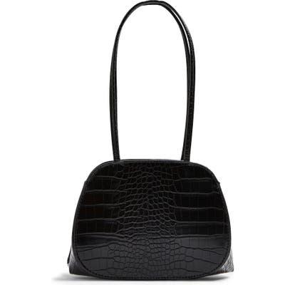 Topshop Shine Crocodile Embossed Mini Bag - Black