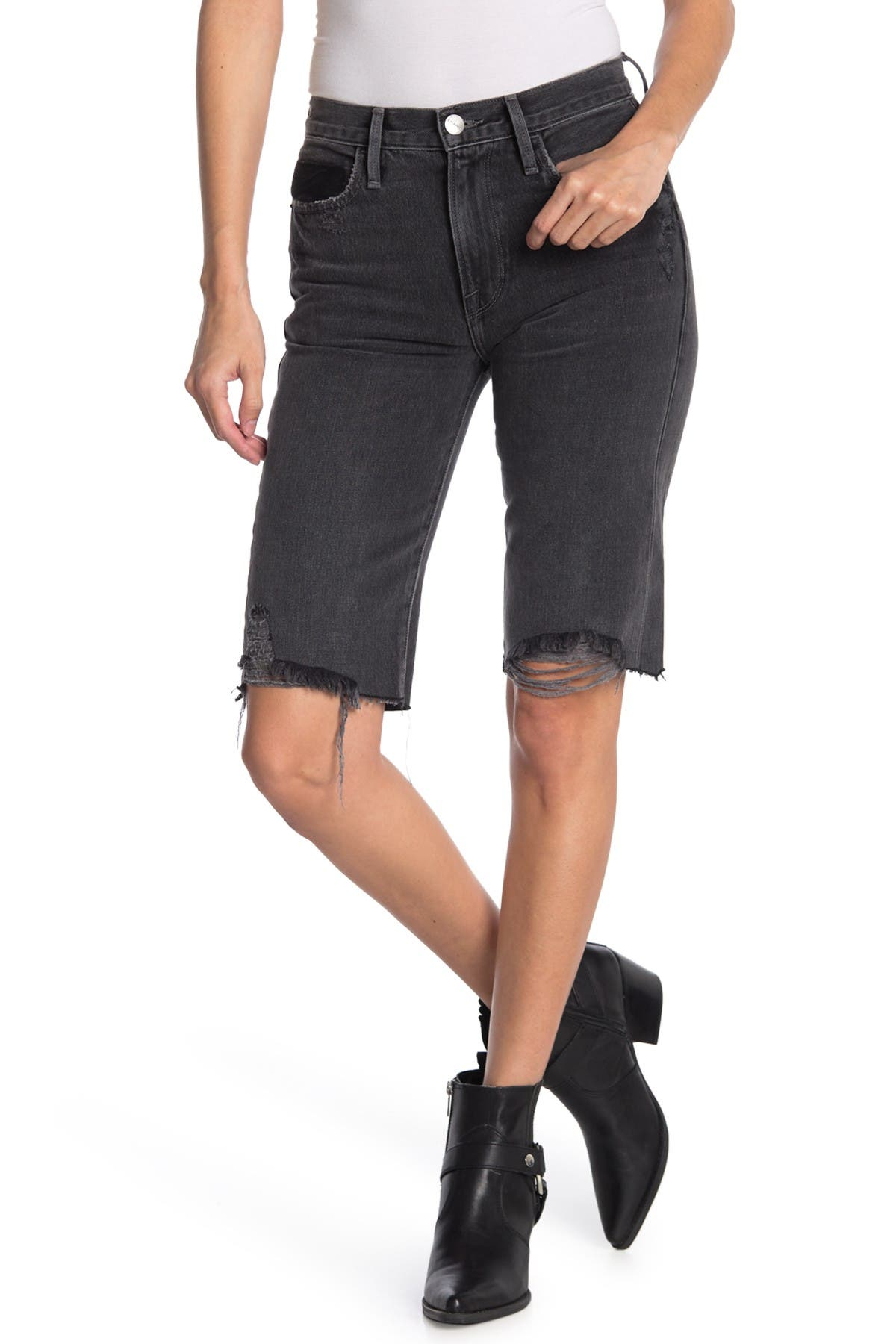 Image of FRAME Le Twisted Distressed Baggy Shorts