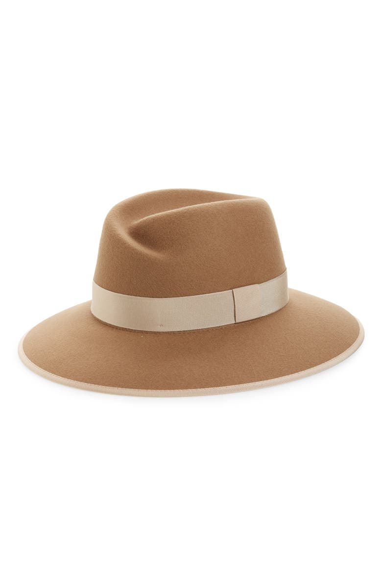 RAG & BONE Zoe Wool Fedora, Main, color, CAMEL