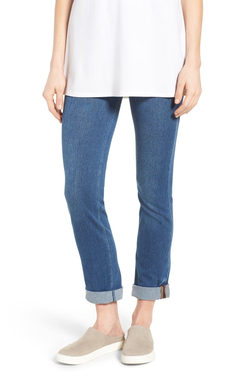 LYSSÉ Boyfriend High Rise Denim Leggings, Main, color, MID WASH