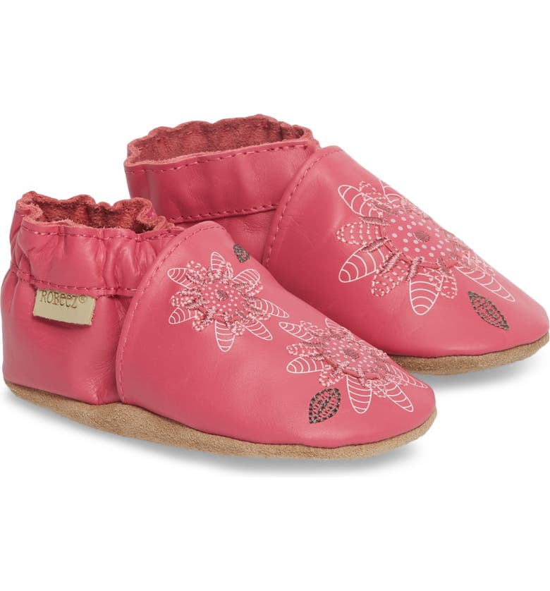 ROBEEZ<SUP>®</SUP> Fiona Flower Moccasin Crib Shoe, Main, color, 670