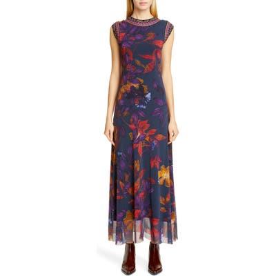 Fuzzi Embroidered Trim Floral Maxi Dress, Blue
