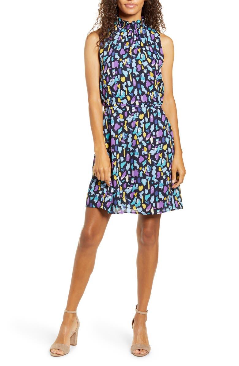 GIBSON x City Safari Roselyn Weaver Smocked Mock Neck Dress, Main, color, 466