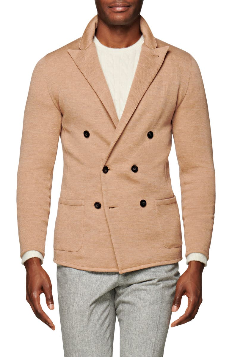 SUITSUPPLY Havana Slim Fit Double Breasted Knit Wool Blend Sport Coat, Main, color, CAMEL