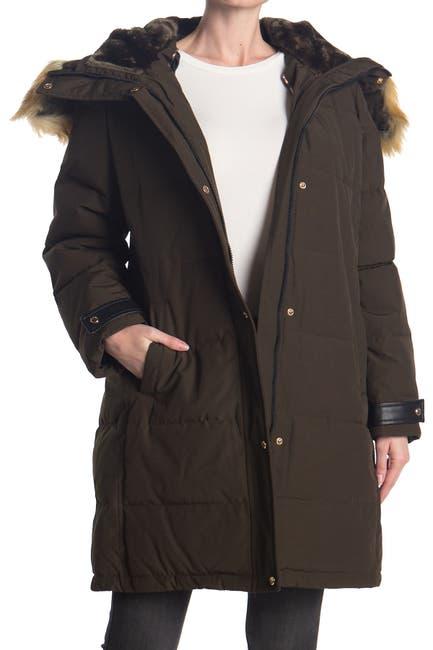 Image of Nine West Faux Fur Trim Hooded Parka