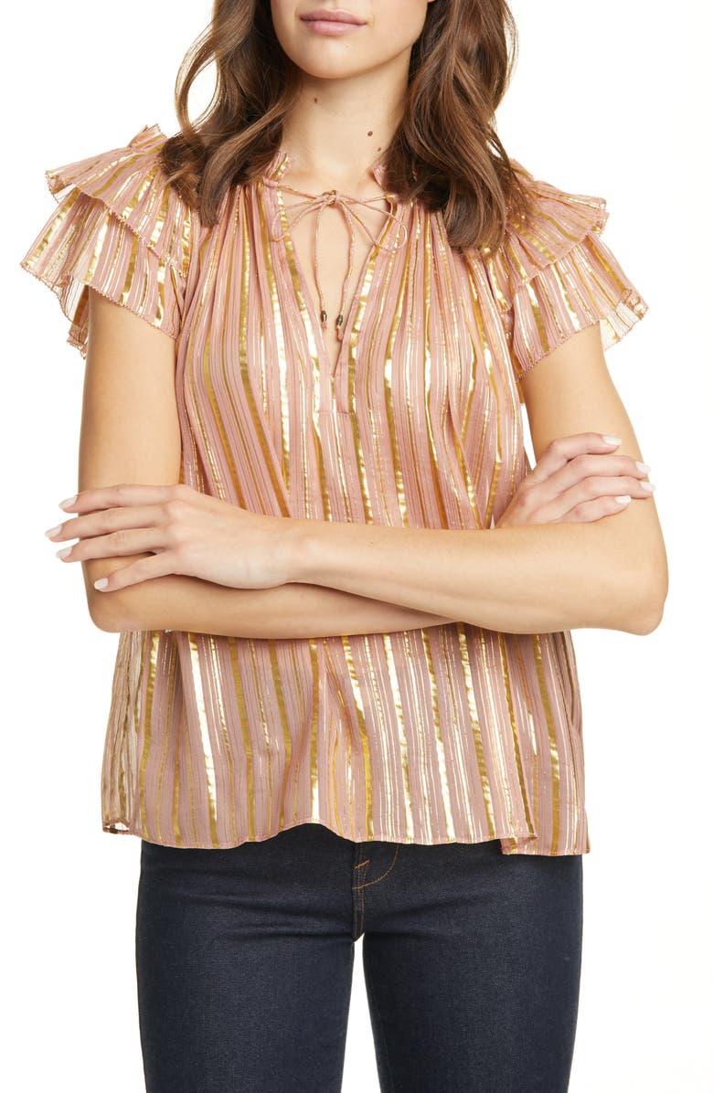 ULLA JOHNSON Kosta Metallic Stripe Silk Blend Top, Main, color, ROSE